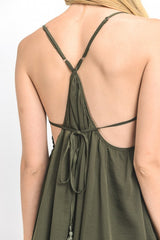 Solid Open Back Mini Cami Dress