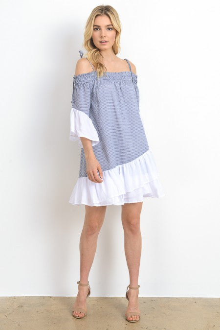 Striped Off Shoulder Mini Tunic Dress