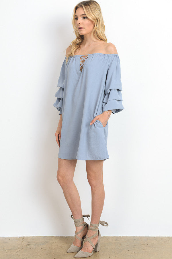 Solid Off Shoulder Mini Dress with Pockets