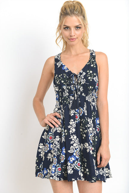 Geo Floral Printed Mini Dress