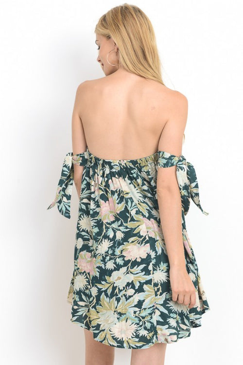 Floral Printed Off Shoulder Mini Dress