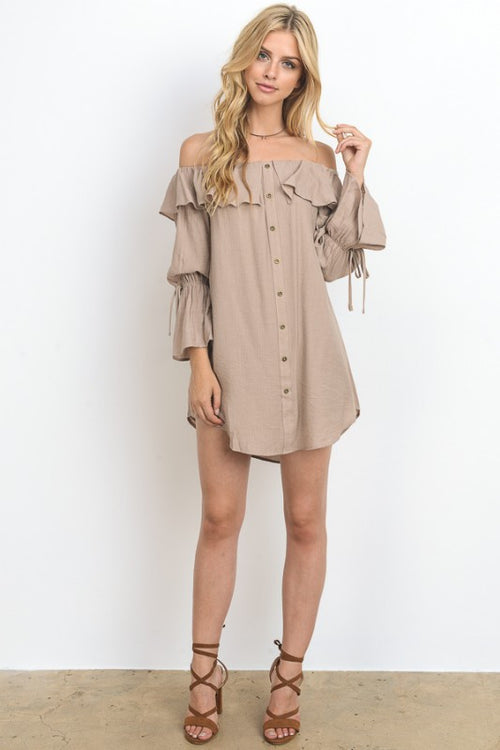 Button Down Off Shoulder Mini Dress