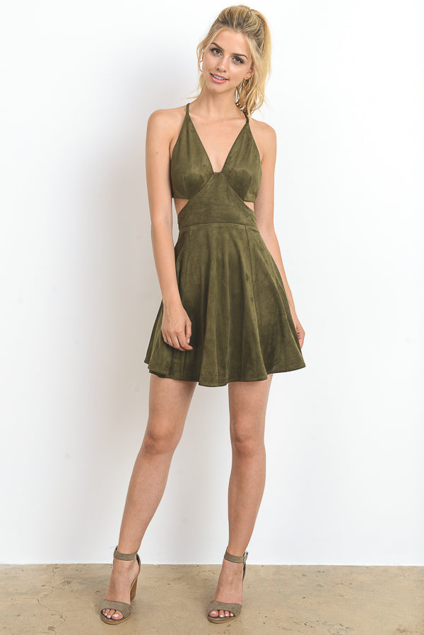 Solid Suede Mini Dress