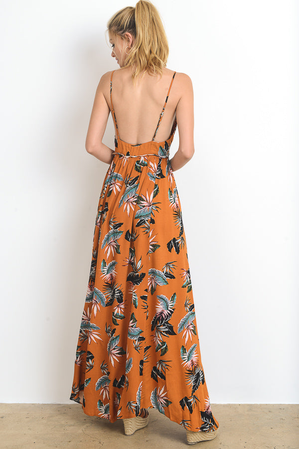 Floral Printed Open Back Maxi Dress
