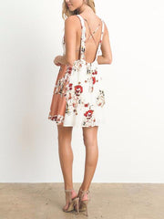 Floral Printed Open Back Mini Dress