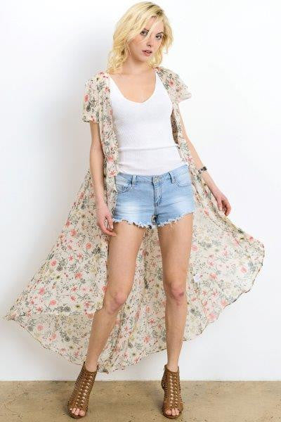 Floral Printed Sheer Cardigan