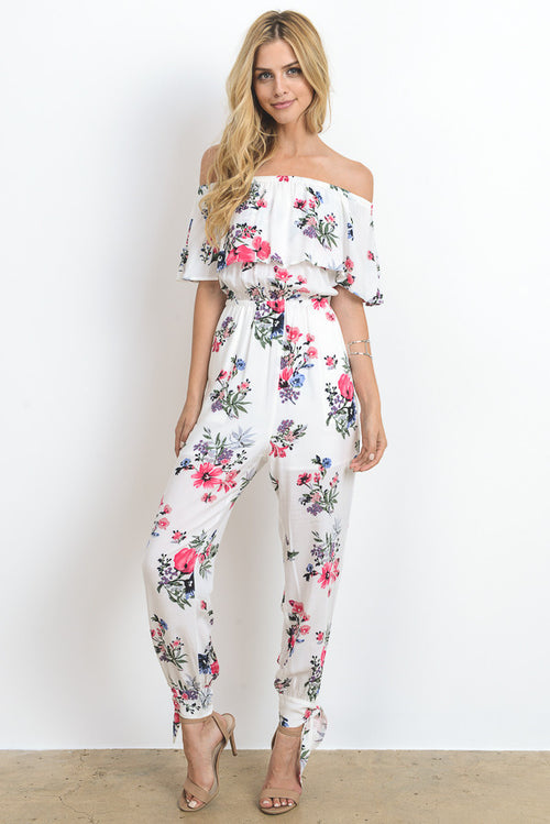 Off Shoulder Floral Print Jumpsuit