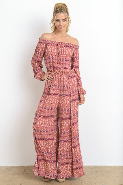 Ethnic Printed Off Shoulder Jumpsuit