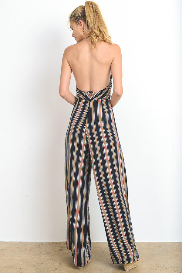 Striped Backless Jumpsuit