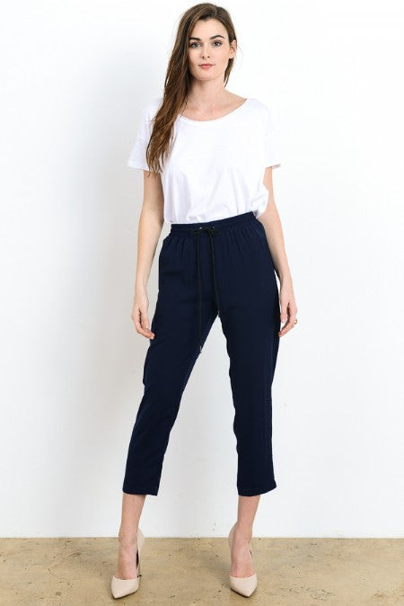 Solid Track Capri Pants with Pockets