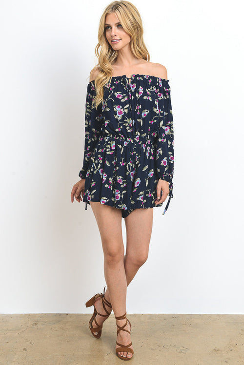 Floral Printed Off Shoulder Romper