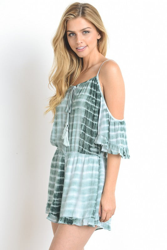 Cold Shoulder Tie-Dye Romper