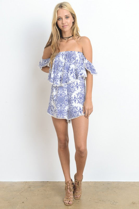 Geo Floral Printed Off Shoulder Romper