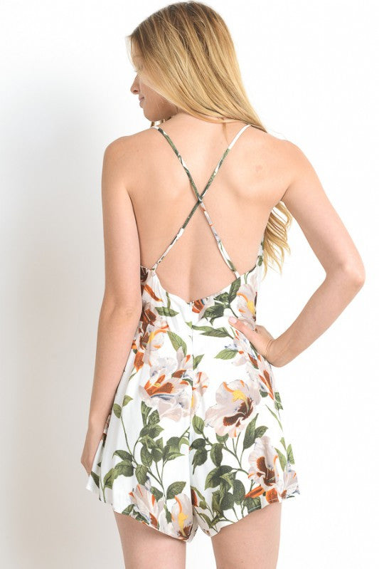 Cutout detail cross-back Babydoll Romper