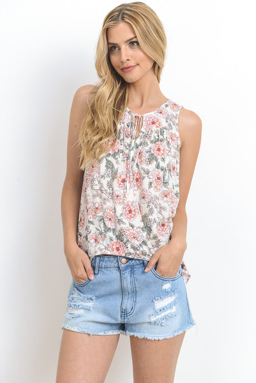 Floral Print Tunic Tank Top