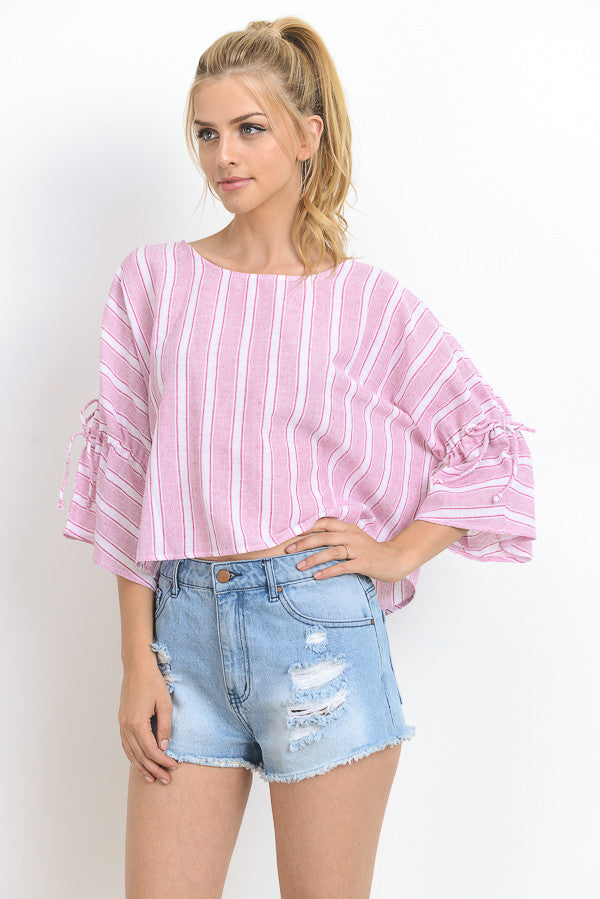 Button Back Striped Crop Top