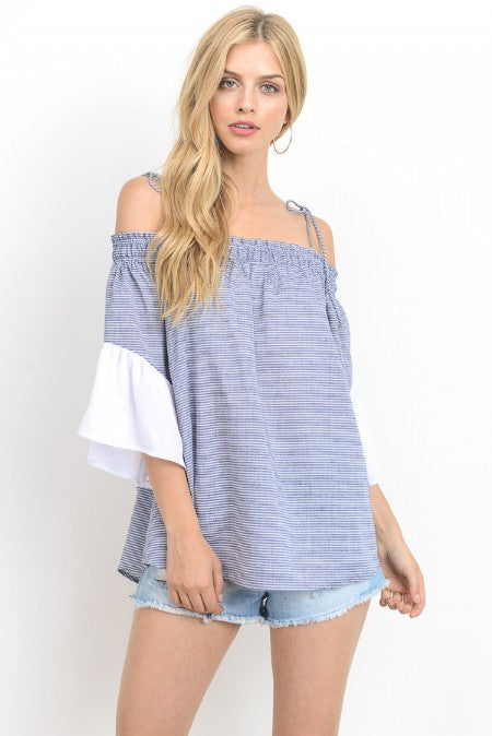 Striped Off Shoulder Tunic Top