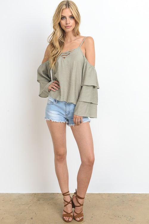 Solid Cold Shoulder Ruffled Sleeve Top