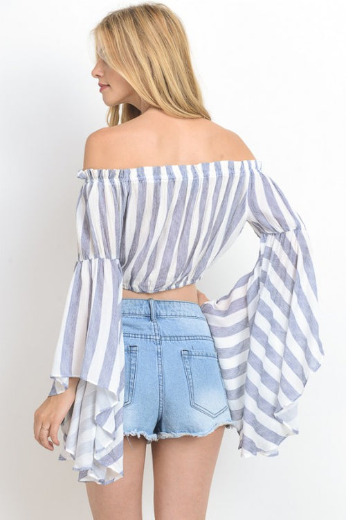 Over Sized Bell Sleeved Crop Top