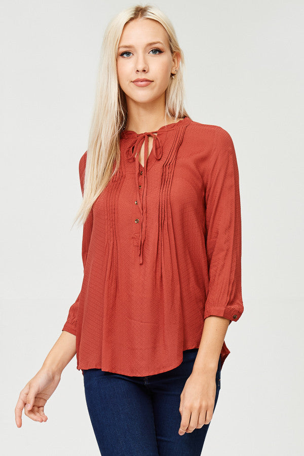 Solid Button Down Tunic Top