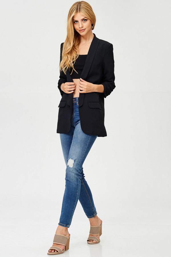 Solid Boyfriend Blazer Coats Jacket