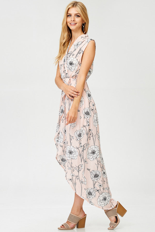 Floral Printed Midi Wrap Dress