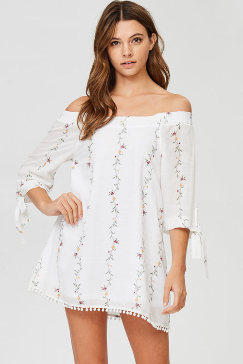 Off Shoulder Floral Embroidered Mini Dress