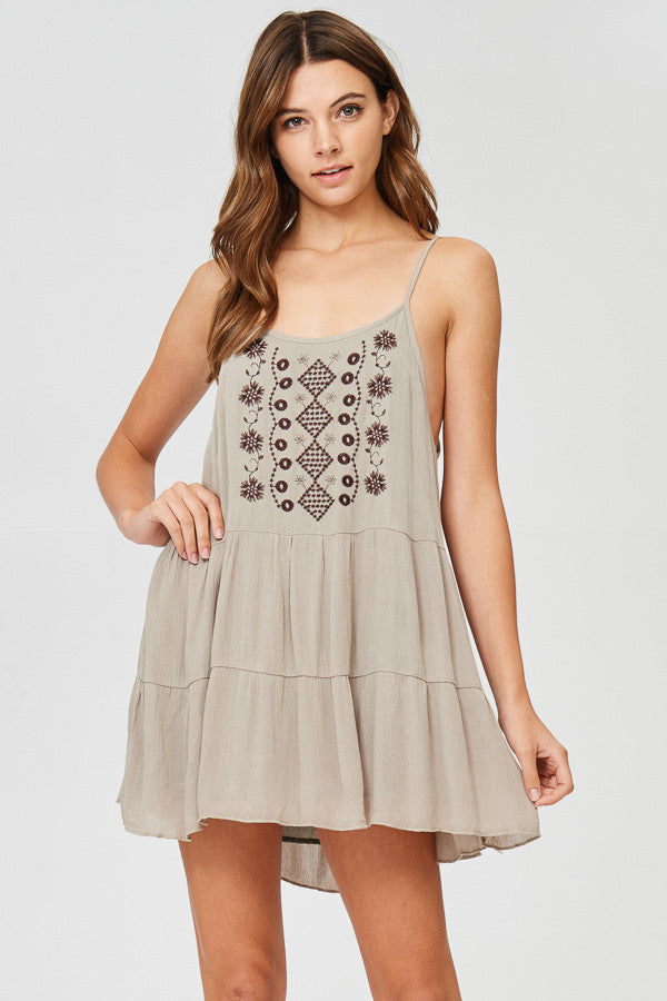 Embroidery Detail Mini Dress