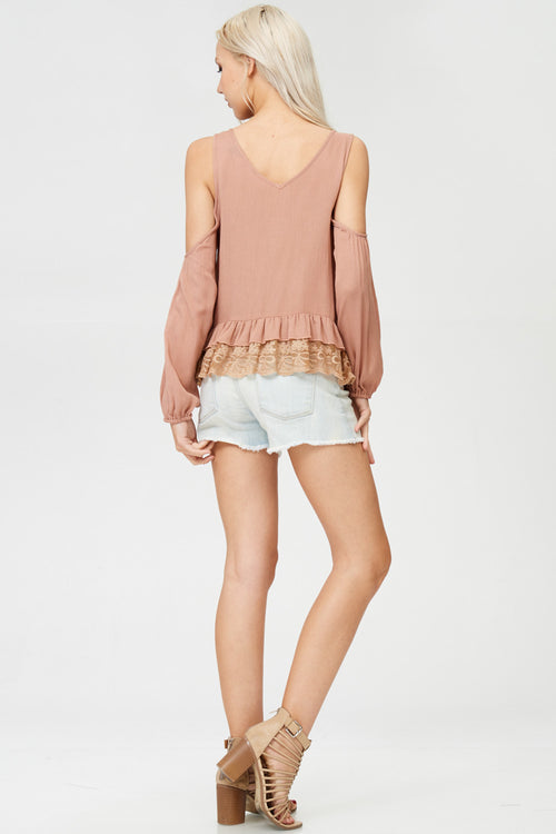 Cold Shoulder Laced Top