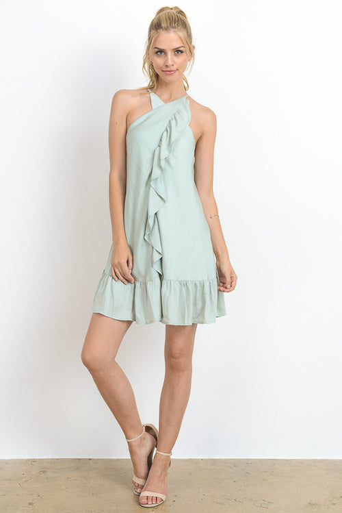 Crossed Halter Neck Solid Mini Dress