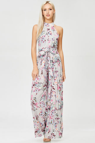 Floral Printed Unbalanced Shoulder Jumpsuit with Pockets