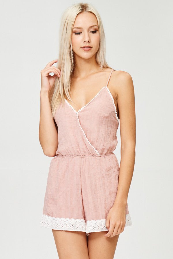 Lace Detailed Solid Romper