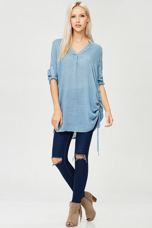 Solid Woven Tunic Top