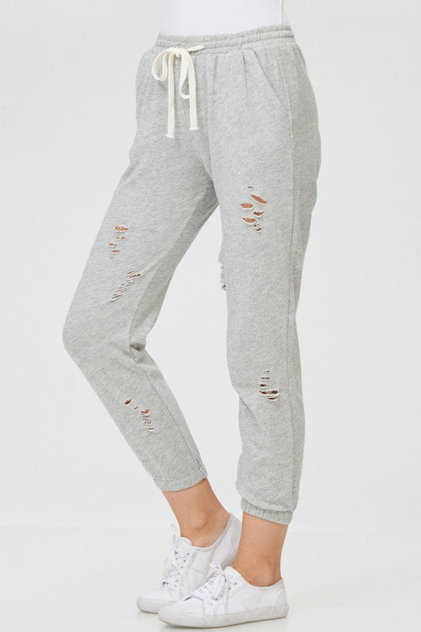 Ripped Detail French Terry Jogger
