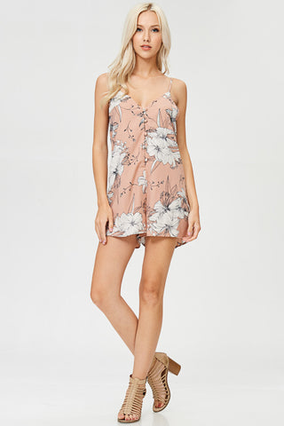 Floral Printed Cold Shoulder Halter Romper