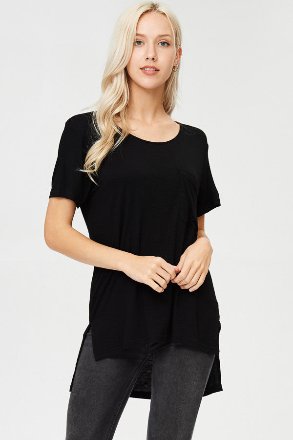 Solid High-Low Tunic Top