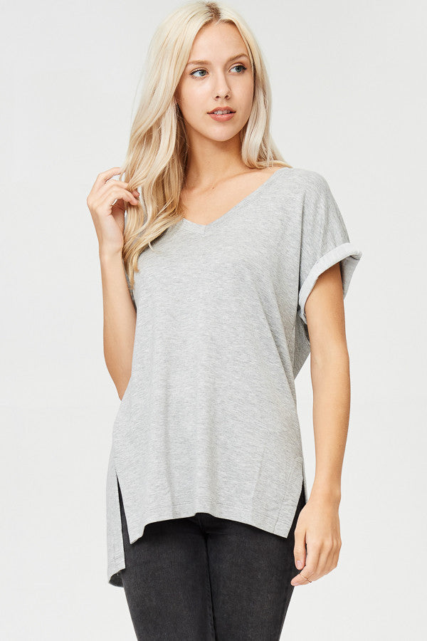 Roll Tab Sleeve Solid High-Low Tunic Top