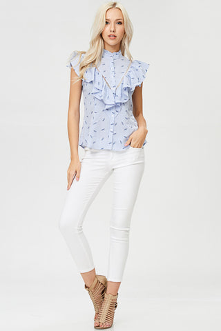 Geo Floral Printed Unbalanced Yoke Top