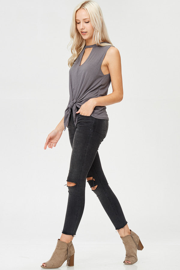 Solid Knotted Tank Top