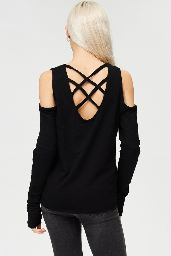 Cold Shoulder Criss Cross Back Solid Vintage Top
