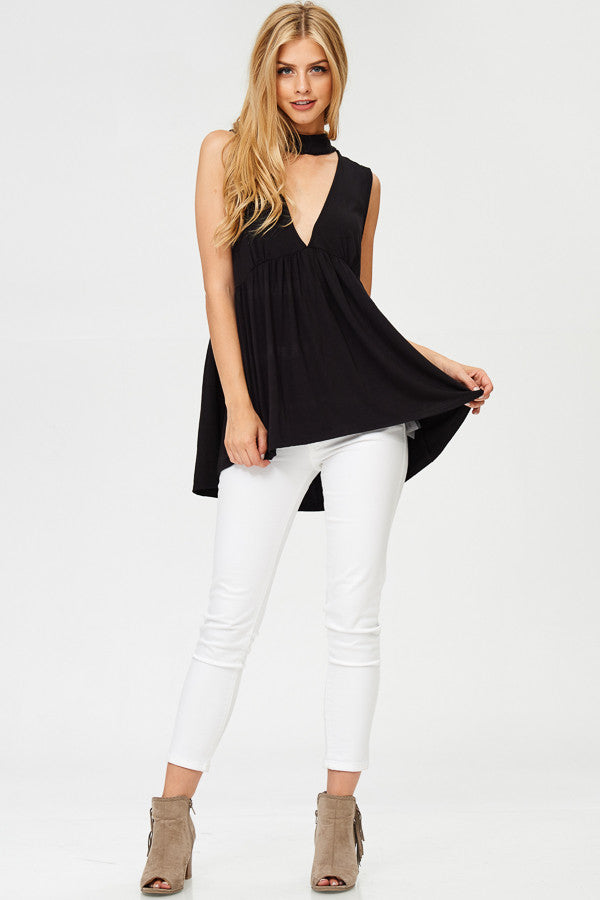 Deep V-neck Solid Tunic Tank Top