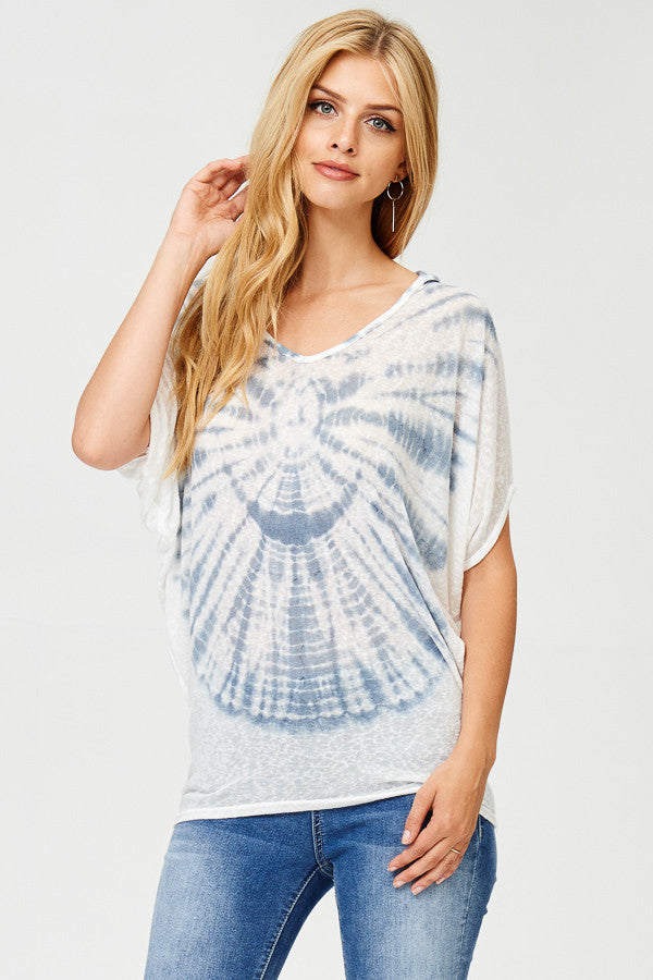 Tie Dyed Poncho Hoodie Top