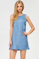 Solid Denim Mini Dress