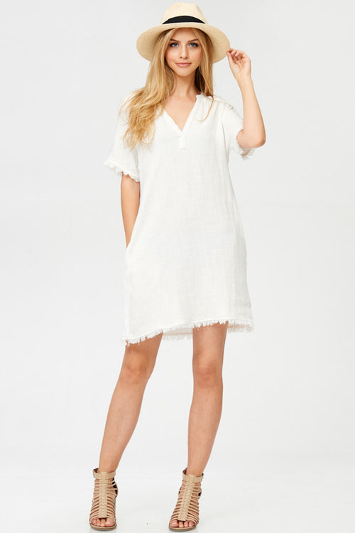 Solid Woven Mini Dress With Pockets