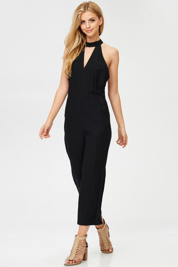 Solid Halter Neck Jumpsuit With Pockets