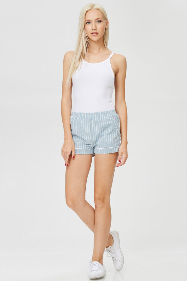Stripped Cotton Shorts