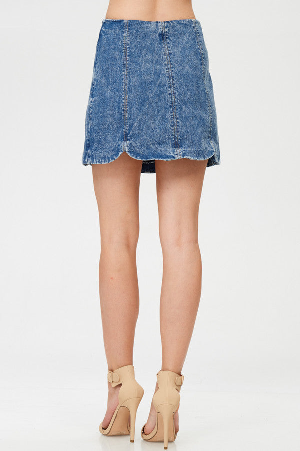 Faded Denim Mini Skirt