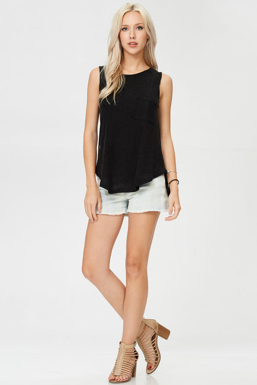 Sleeveless Woven Tunic Tank Top