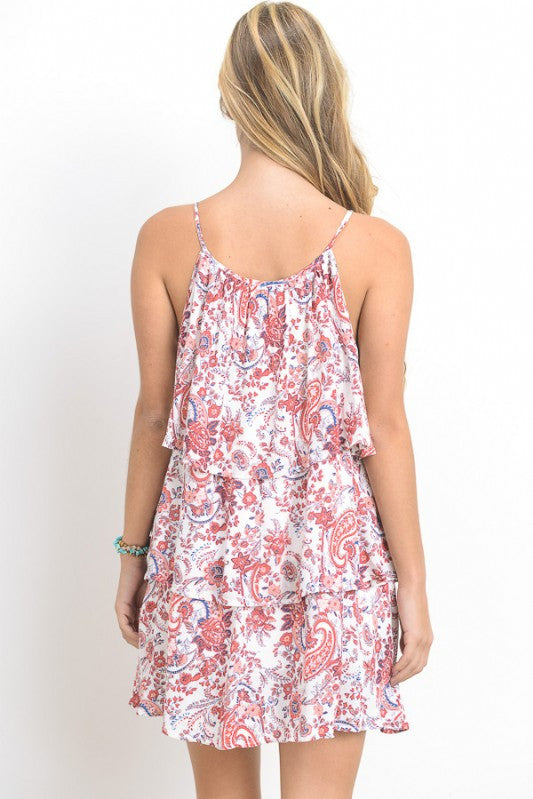 Paisley Print Spaghetti Strap Mini Dress