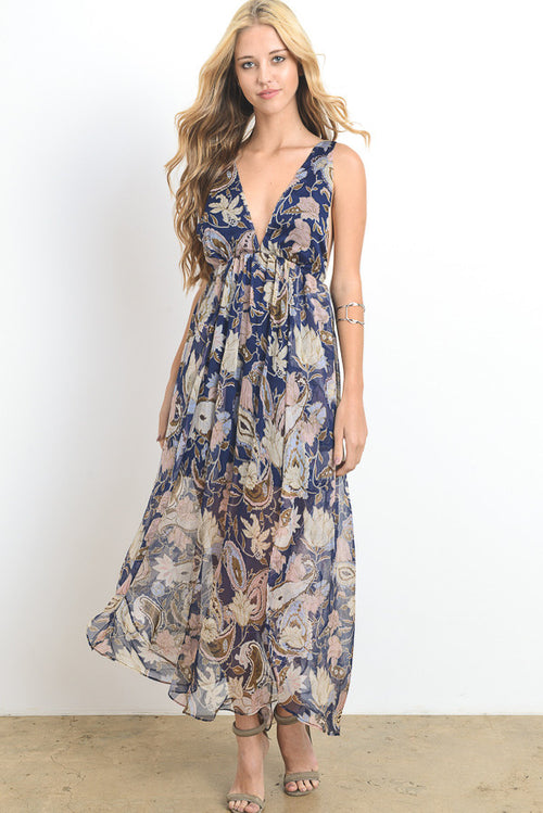 Paisley Print Sheer Maxi Dress